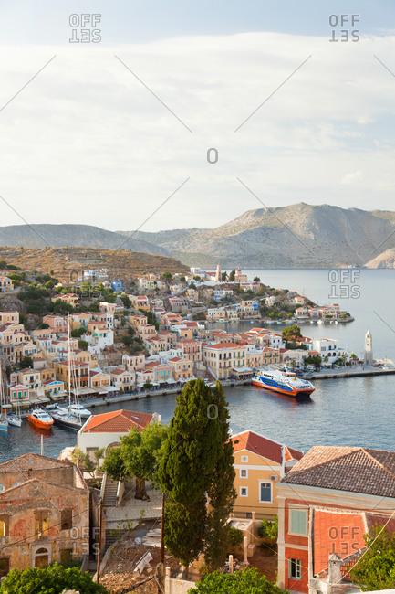January 8, 2021: Symi Town, Symi Island, Dodecanese Islands, Greece