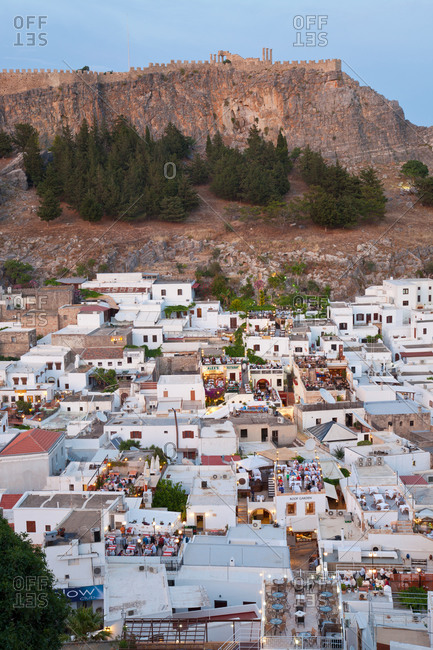 January 8, 2021: Lindos, Rhodes Island, Dodecanese Islands, Greece