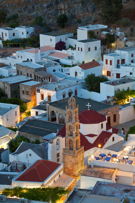 January 8, 2021: Dusk, Lindos, Rhodes Island, Dodecanese Islands,