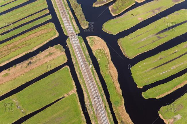 Railway line & polder or re-claimed lands, North Holland, Netherlands