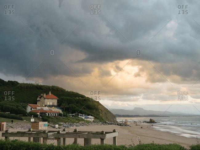 August 30, 2020: Dark clouds over an empty beach in Biarritz, France