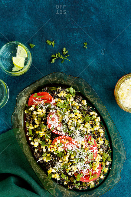 Spanish style vegetable manchego black quinoa