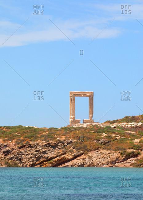 Apollo Temple entrance on the coast of Naxos Island, Cyclades, Greece