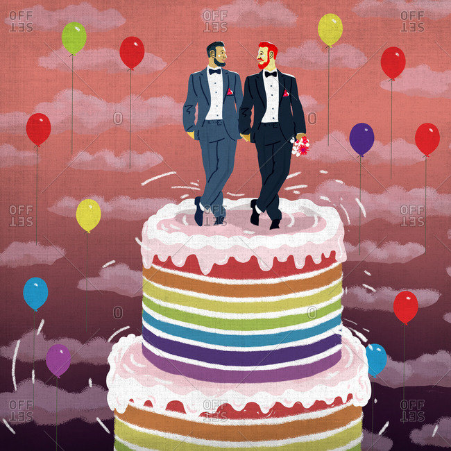 Wedding cake with gay couple on top tier