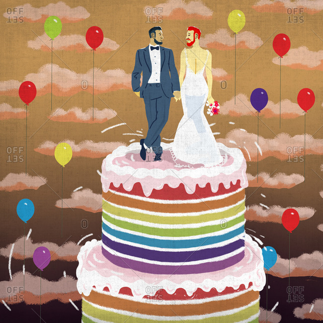 Wedding cake with groom and transgender bride