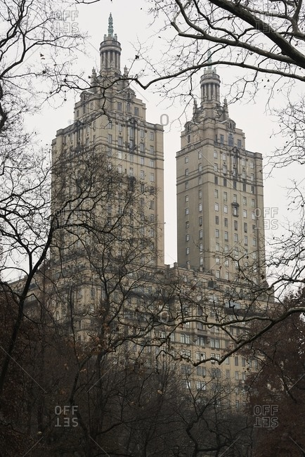December 15, 2018: From below of towers of famous Sam Remo apartment buildings against overcast sky in New York