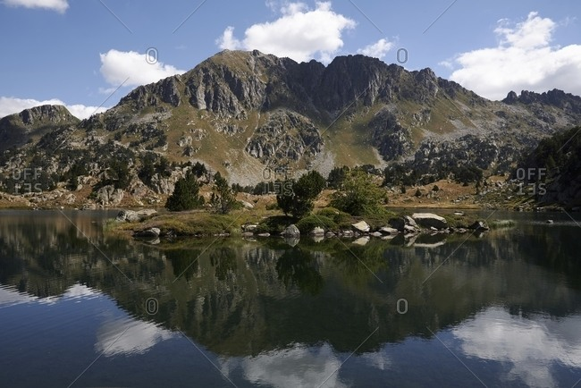 Scenery of lake in mountainous terrain