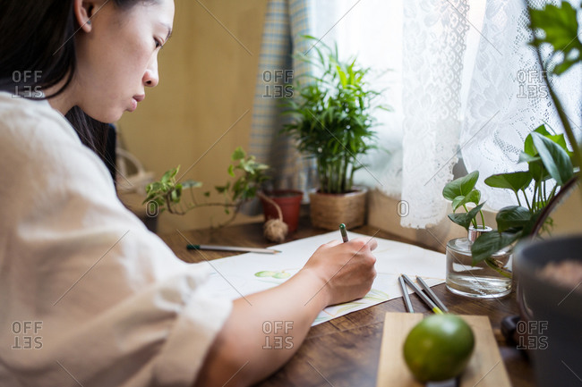 Focused talented Asian female artist drawing with pencil on paper while sitting at table at home