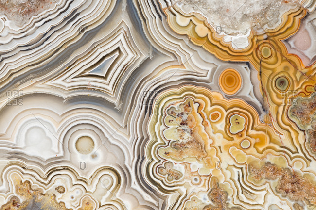 Macro photograph of the patterns in a laguna lace agate from Mexico