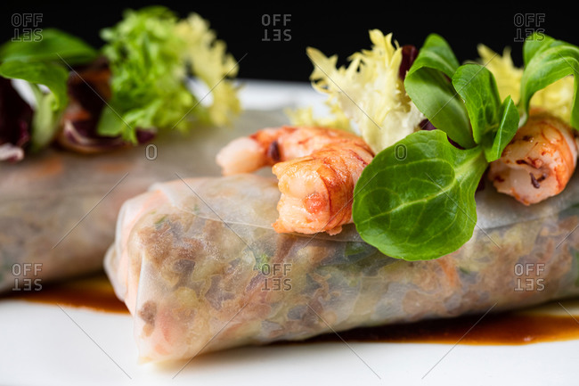 Closeup of delicious duck cannelloni garnished with shrimps and greenery and served on plate in Asian restaurant