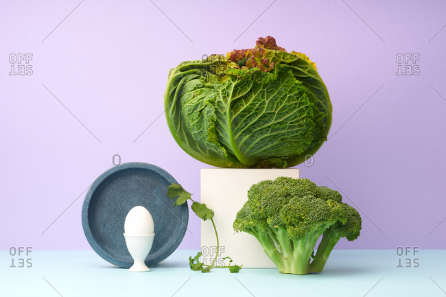 Still life with savoy cabbage, broccoli and coriander
