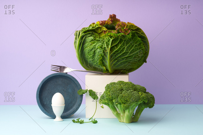 Still life with savoy cabbage, broccoli, egg and coriander