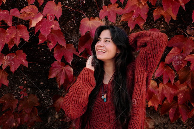 Cheerful young brunette in warm knitted sweater standing on a wall with red maple foliage in autumn day and looking at camera