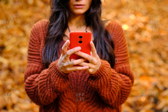Cropped unrecognizable young female in warm red knitted pullover browsing mobile phone while standing in autumn park with fallen colorful leaves