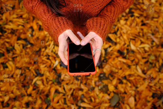 From above cropped unrecognizable female in warm red knitted pullover browsing mobile phone while standing in autumn park with fallen colorful leaves