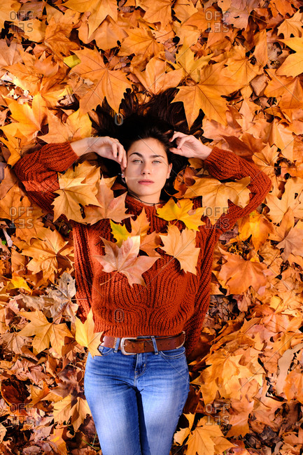 Top view of attractive relaxed young brunette in red knitted sweater and jeans lying on colorful fallen maple foliage while chilling in autumn park