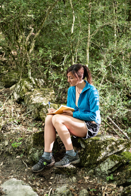 Serene female tourist in trekking boots sitting on rock in forest and reading fascinating story in book in summer