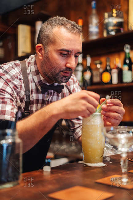 Middle aged man in apron and checkered shirt decorating glass of cocktail with leaf on counter in pub