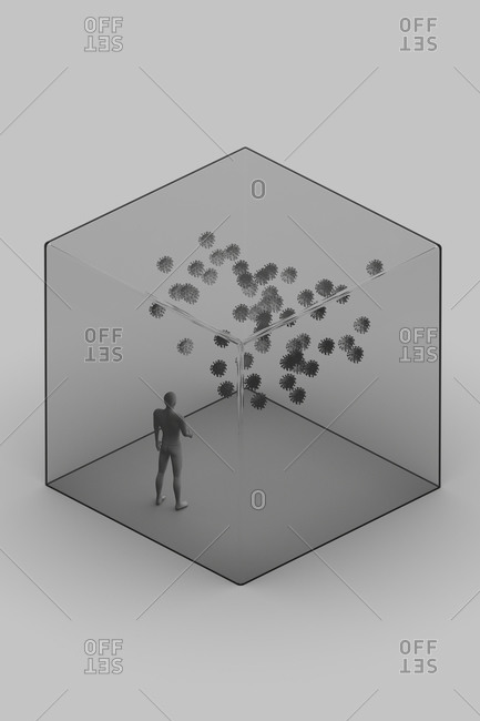 3d illustration with abstract human figure inside transparent glass cube with many virus cells