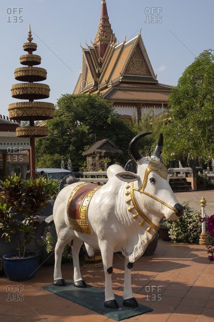 Angkor Wat, Cambodia, Asia - December 30, 2019: Cow statue outside Wat Preah Prom Rath Buddhist temple