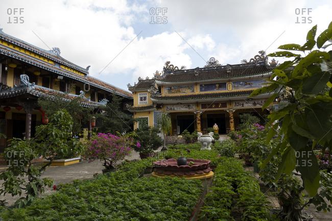 Vietnam, Asia - December 26, 2019: Tranquil garden in a Buddhist temple in Vietnam