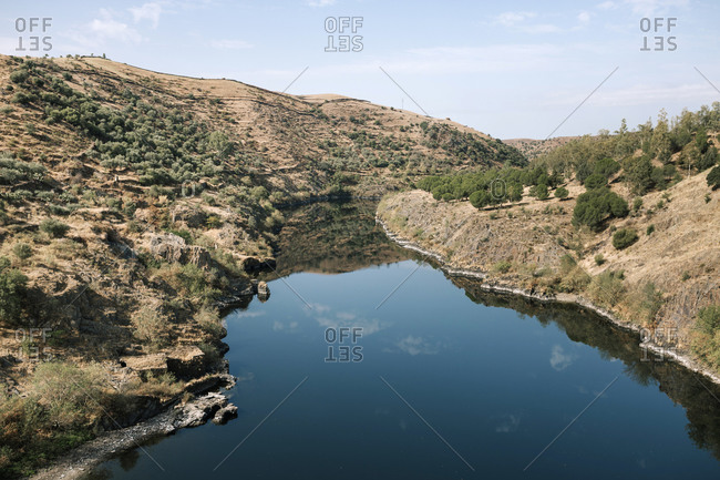 Landscape with mountain and river in Caceres, Extremadura, Spain