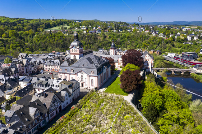 Germany- Weilburg- Weilburg Castle with baroque palace complex- old town hall and castle church with tower- aerial view