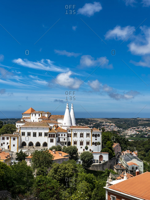 Portugal- Lisbon District- Sintra- Blue sky over Sintra National Palace in summer