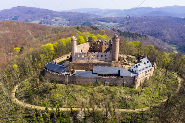 Germany- Hesse- Bensheim- Helicopter view of Auerbach Castle in spring