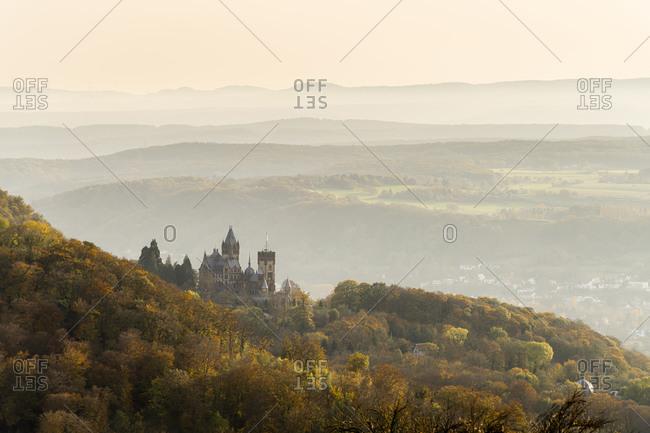 Germany- North Rhine-Westphalia- Konigswinter- Schloss Drachenburg in foggy autumn morning