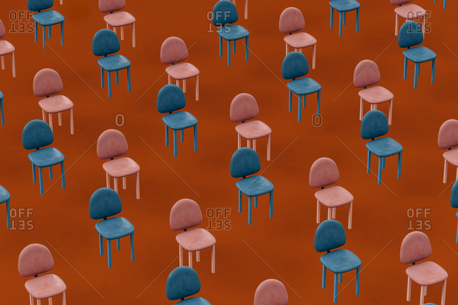 Rows of blue and pink empty chairs floating against red background