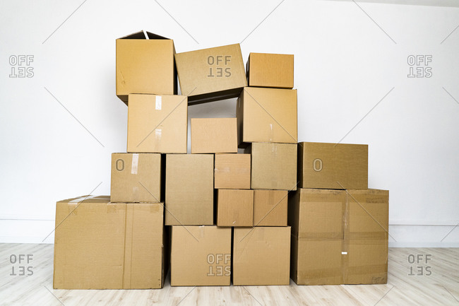 Domestic room filled with cardboard boxes