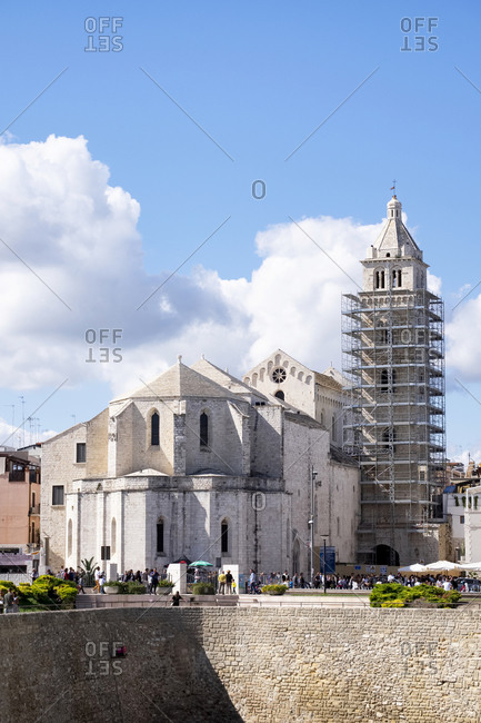 October 6, 2019: Italy- Apulia- Barletta- Cathedral of Santa Maria Maggiore with bell tower under renovation