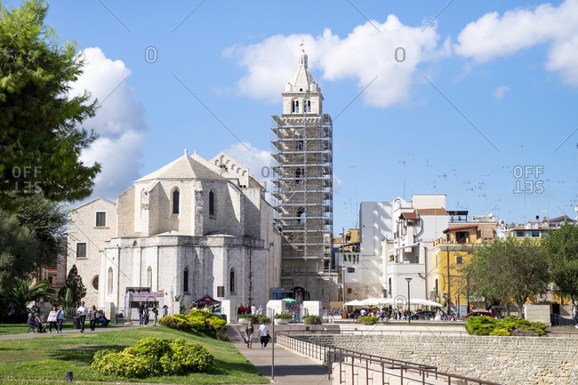 October 5, 2019: Italy- Apulia- Barletta- Cathedral of Santa Maria Maggiore with bell tower under renovation