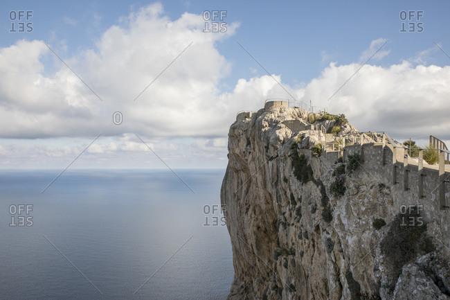 Aerial view of clouds over Cap de Formentor headland