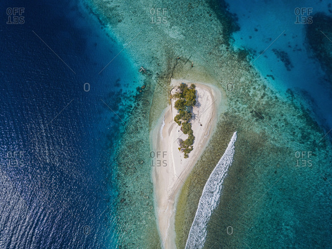 Tropical island on sea- aerial view