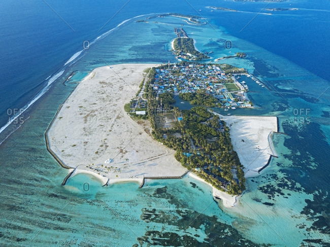 Maldives- Kaafu Atoll- Aerial view of Huraa island