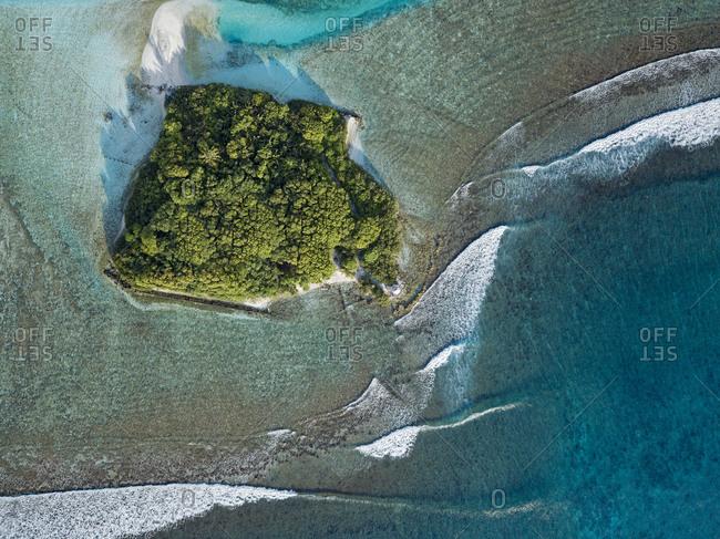 Maldives- Kaafu Atoll- Aerial view of small grove on Huraa island