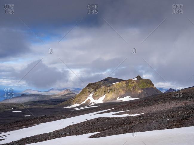 Clouds over volcanic landscape of Snaefellsjokull National Park- Iceland