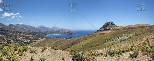 Greece- Crete- Plakias- Panorama of coastal landscape in summer