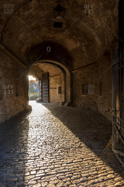 Old stone passageway at Zeller Tor with sunlight