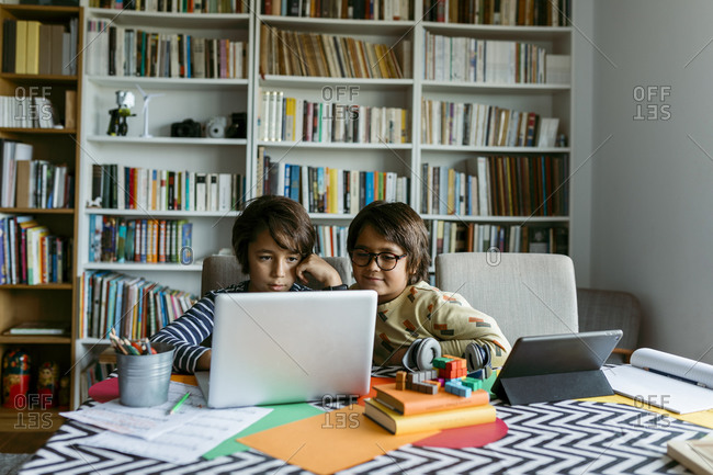Male friends studying through laptop at home