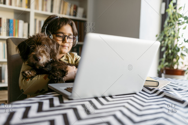 Boy holding pet dog while e-learning through laptop at home