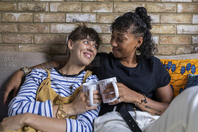 Smiling lesbian couple toasting tea cup while sitting on sofa at home