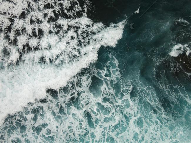 Aerial view of waves in the Atlantic Ocean