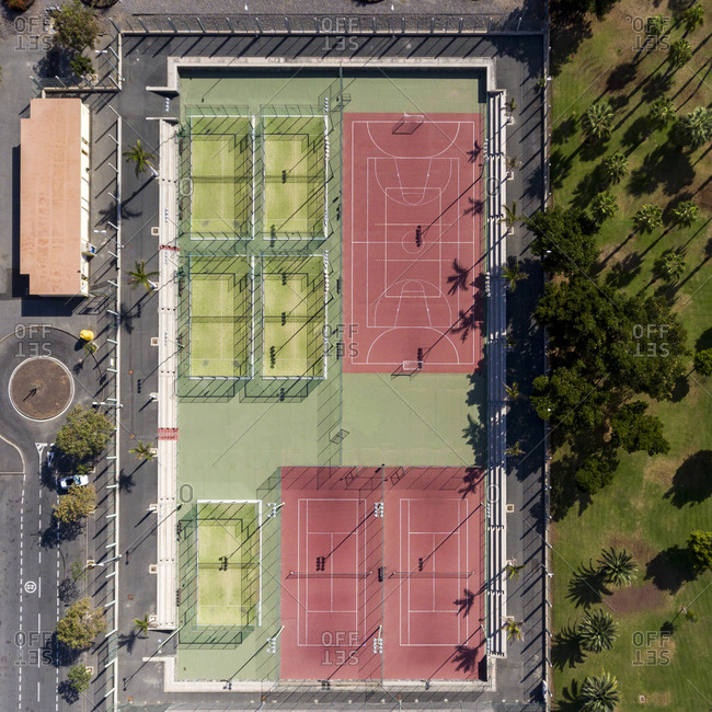 Sports park in the city with basketball and tennis courts