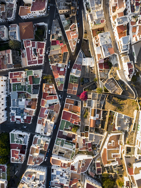 City with colorful rooftops viewed from above
