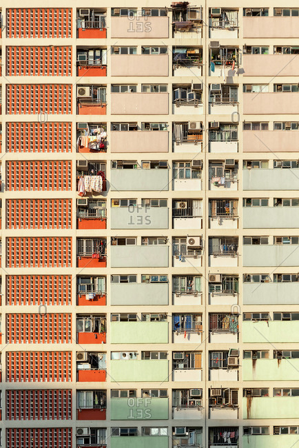 Colorful facade of public housing complexes in Hong Kong