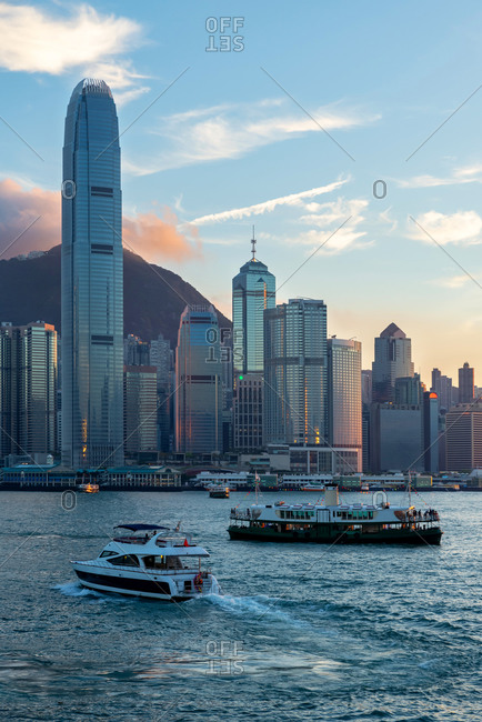 May 19, 2018: Some boats sailing with Hong Kong skyline behind