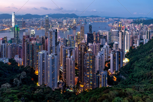 Skyline of Hong Kong at night from Victoria Peak